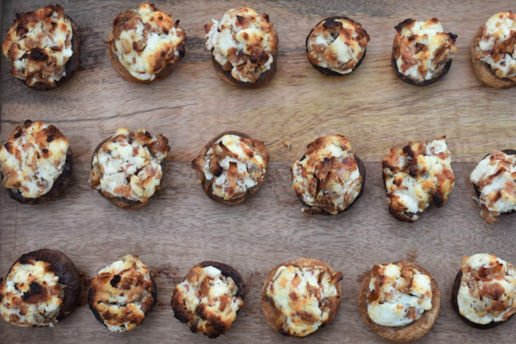 Goat Cheese Stuffed Mushrooms with Dates and Bacon