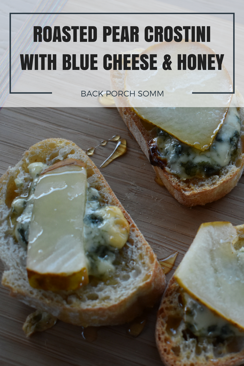 ROASTED PEAR CROSTINI WITH BLUE CHEESE AND HONEY