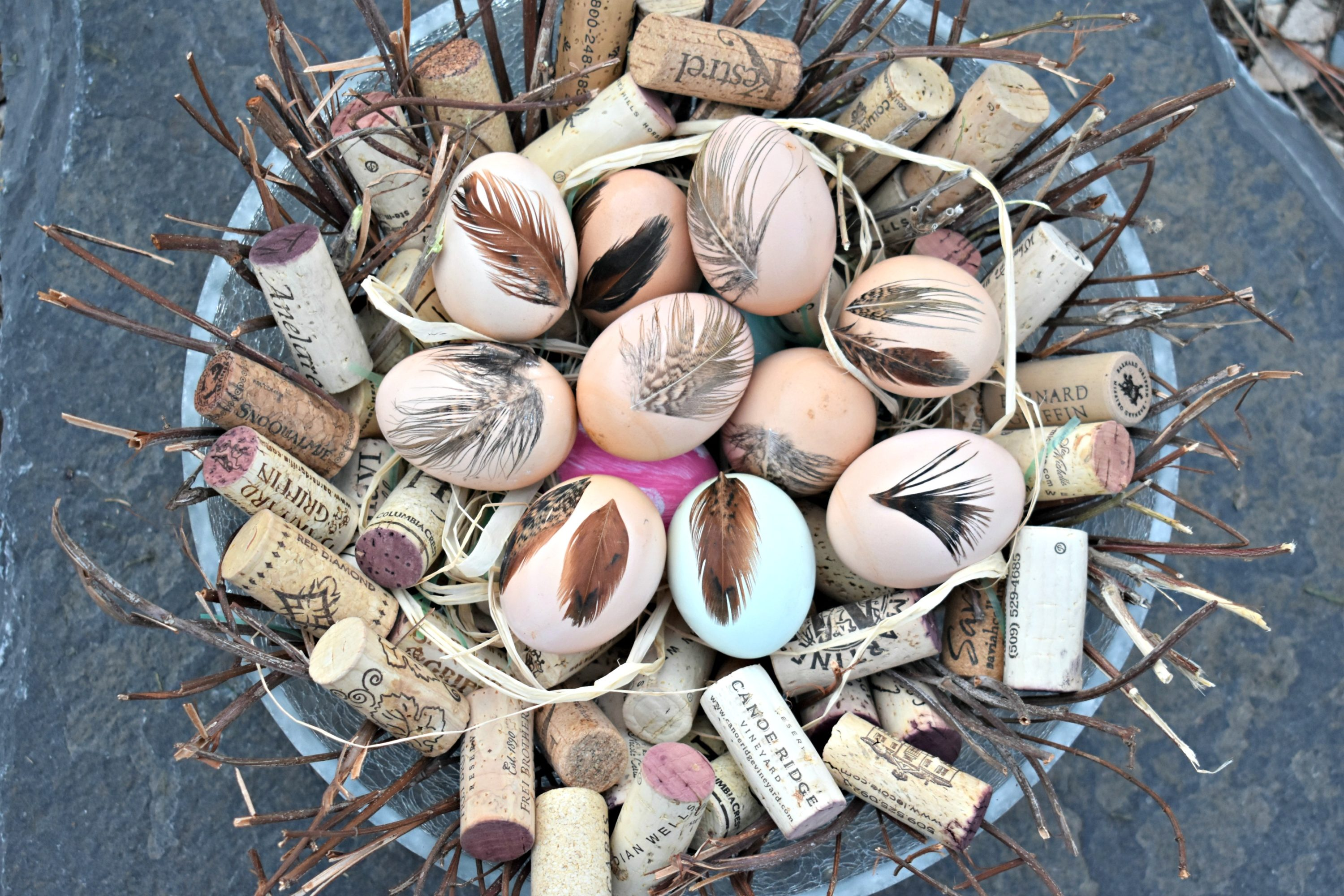 Feathered Easter Eggs in a Cork Nest