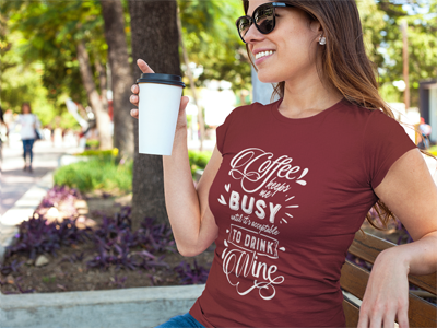 Coffee Keeps Me Busy Until It's Time to Drink Wine T-Shirt